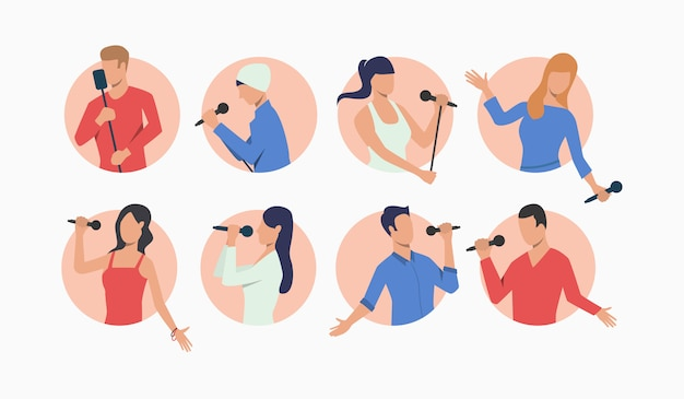 Set of young pop singers with microphones Free Vector