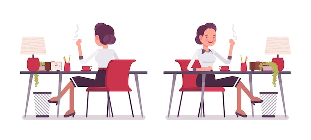 Set of young secretary sitting at the office desk relaxing Premium Vector