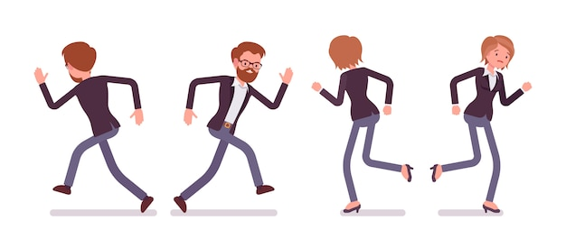 Set of young smiling runnig male and female manager Premium Vector