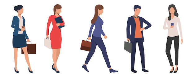 Set of young successful business executives Free Vector