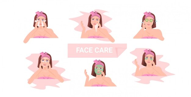 Set of young woman applying different clay face masks Premium Vector