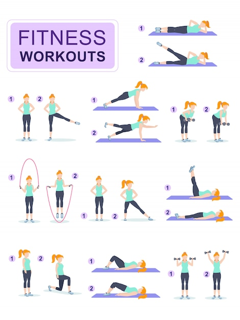 Set of young woman dressed in fitness. Premium Vector