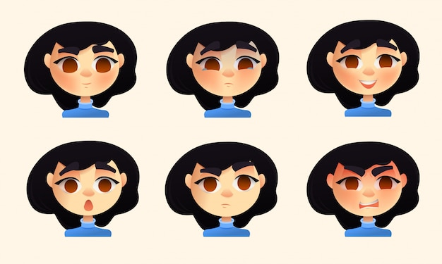 Set of young woman emotions Premium Vector