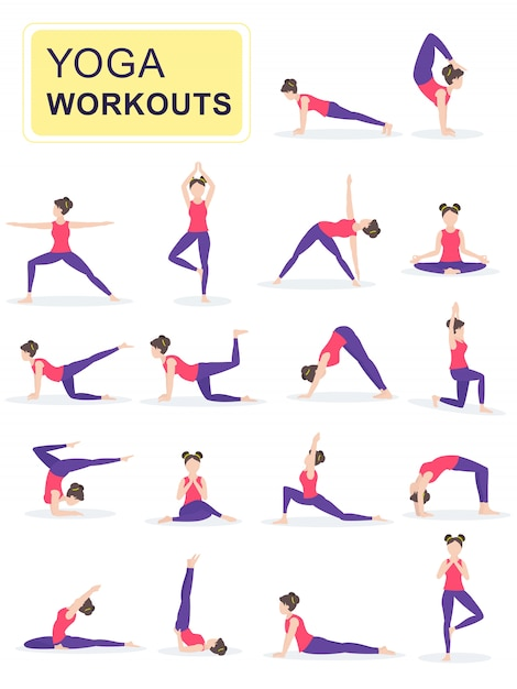 Set of young woman performing physical exercises. Premium Vector