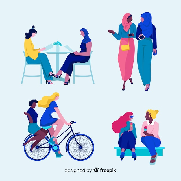 Set of young woman spending time together Free Vector