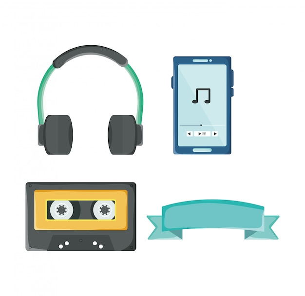 Set of youth culture accessories: headphone, cassette, ribbon, ipod Premium Vector