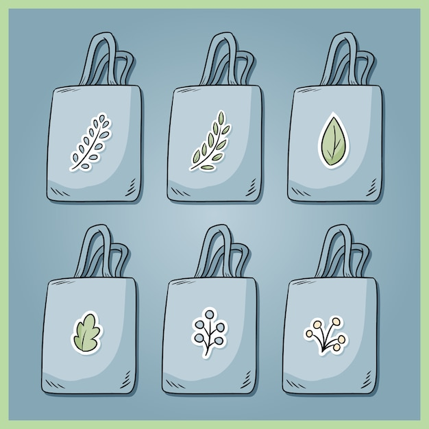 Set of zero waste cotton bags. bring your own bag every day. ecological and plastic free collection of bags. go green Premium Vector
