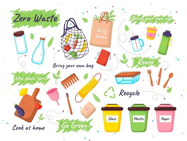Set of zero waste elements. zero waste doodles no plastic, garbage sorting campaign symbols stickers Premium Vector