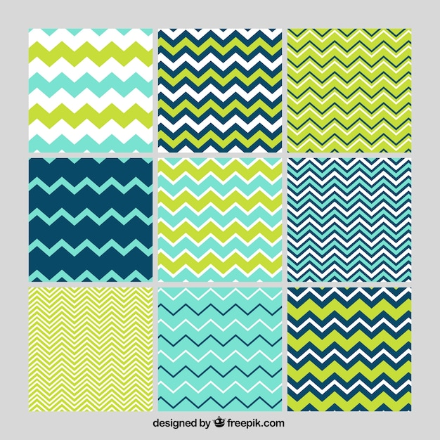 Set of zig-zag lines patterns Free Vector
