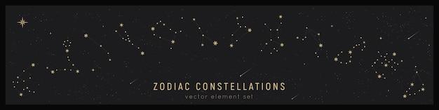 Set of zodiac constellation Premium Vector
