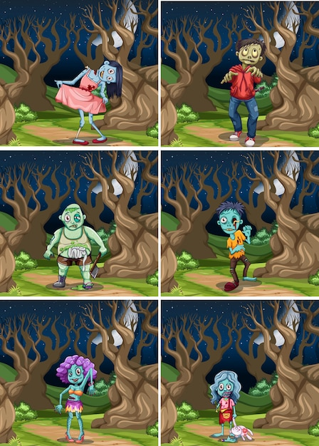 Set of zombie at night Free Vector
