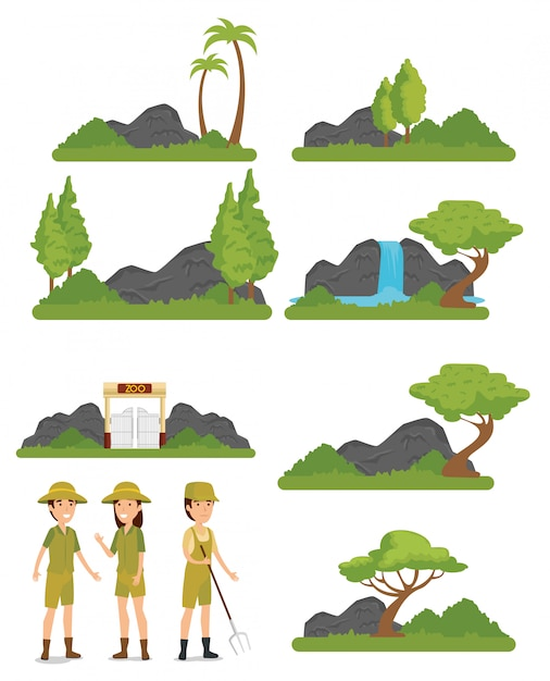 Set zoo animals reserve with safari people Free Vector