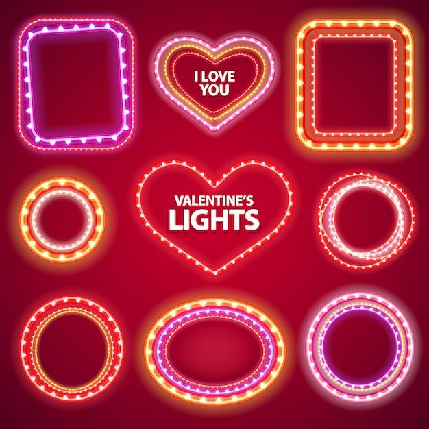 バレンタインネオンライトフレーム、コピースペースset2 Premiumベクター