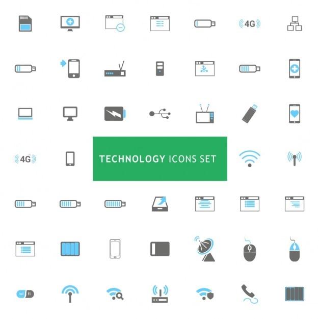 Технология иконки set Бесплатные векторы