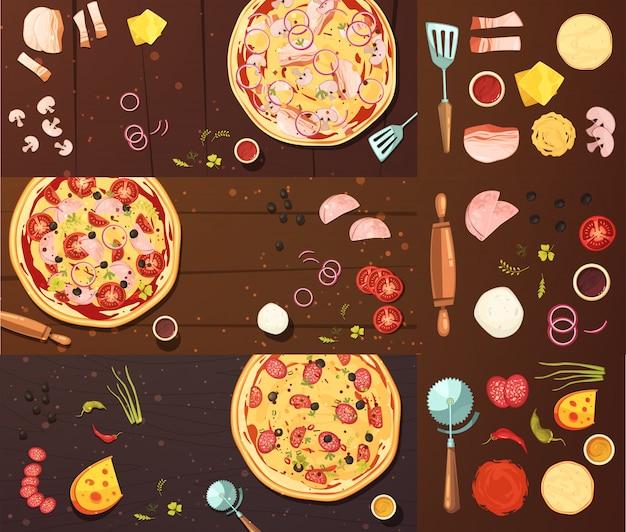 Приготовление пиццы баннеры set Бесплатные векторы