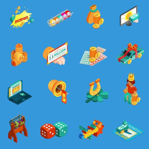 Азартные игры изометрические иконы set Бесплатные векторы