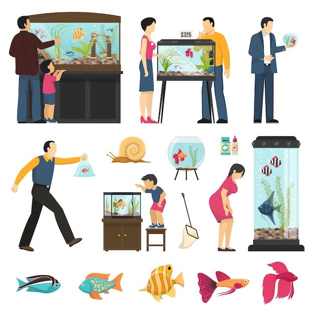 Люди и аквариумы set Бесплатные векторы