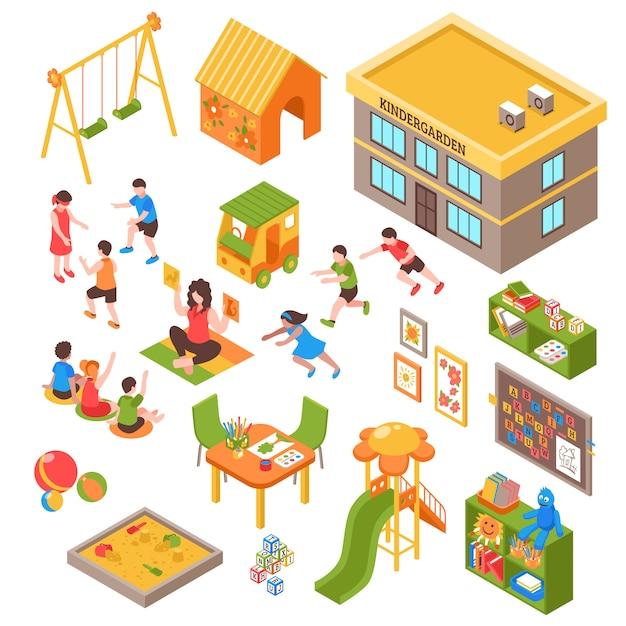 Детский изометрические элементы set Бесплатные векторы