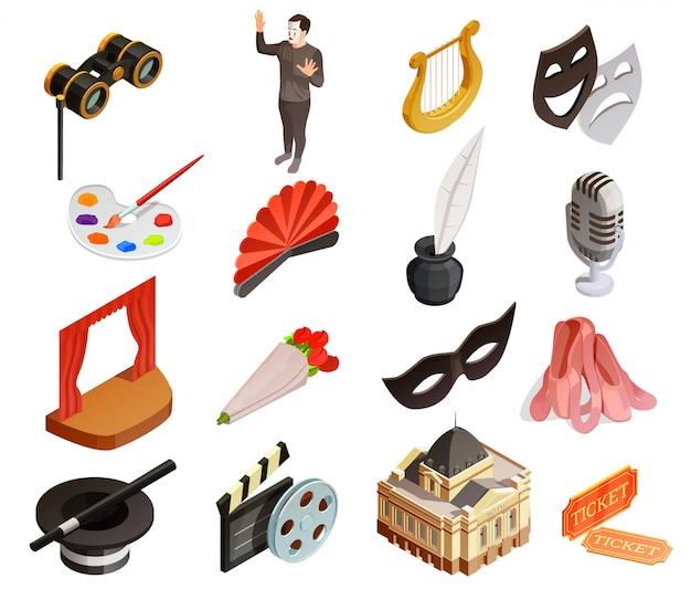 Театр элементы икона set Бесплатные векторы