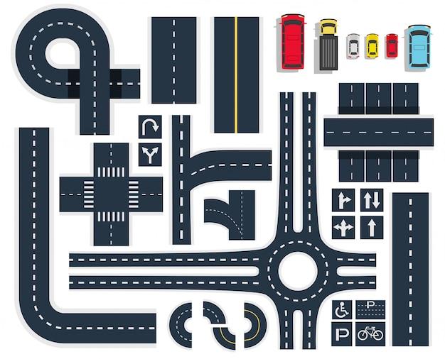 Дорожные дороги вид сверху set Бесплатные векторы