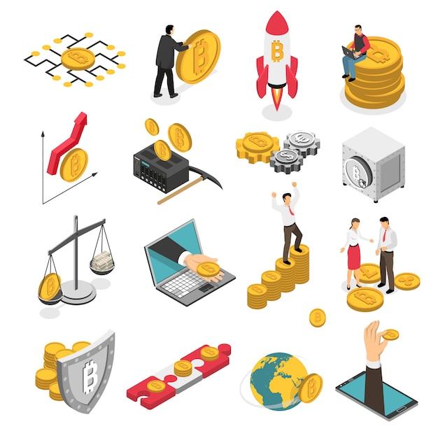 Криптовалюта изометрические иконы set Бесплатные векторы