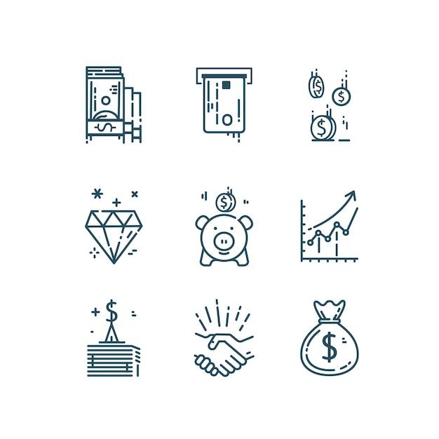 Деньги, финансы линии иконы set. Premium векторы