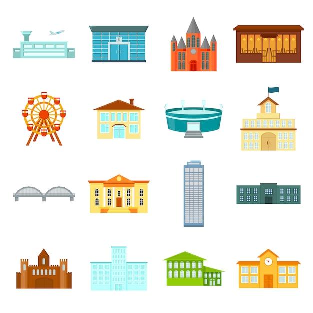 Здание мультфильм векторный икона set. векторная иллюстрация здание. Premium векторы
