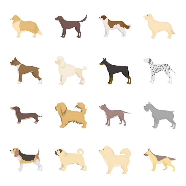 Собака мультфильм векторный икона set. векторная иллюстрация животное собака. Premium векторы