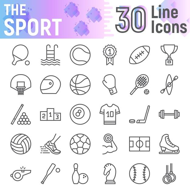 Спортивная линия икона set, коллекция фитнес символов Premium векторы