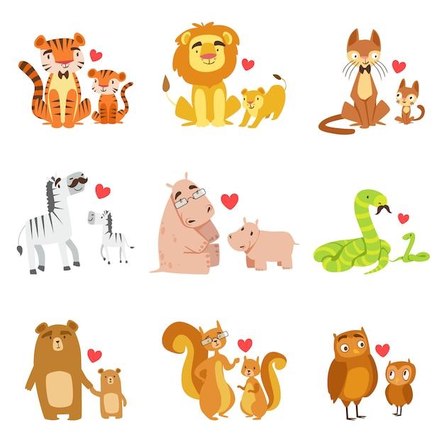 Маленькие животные и их папы иллюстрация set Premium векторы