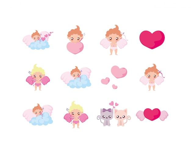 Любовь и день святого валентина икона set Premium векторы