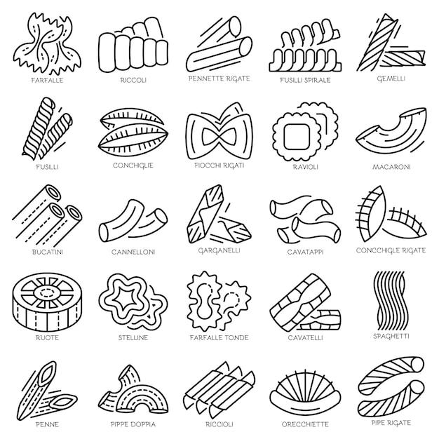 Паста икона set. наброски набор макаронных векторных иконок Premium векторы