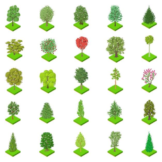 Вид дерева икона set Premium векторы