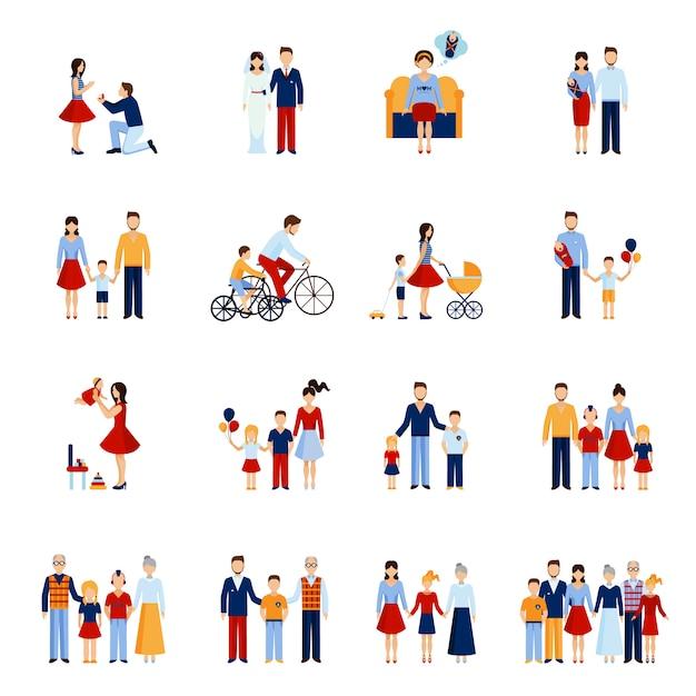 Семейные иконы set Бесплатные векторы