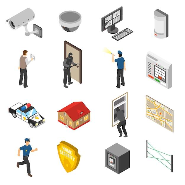 Служба домашней безопасности изометрические элементы set Бесплатные векторы