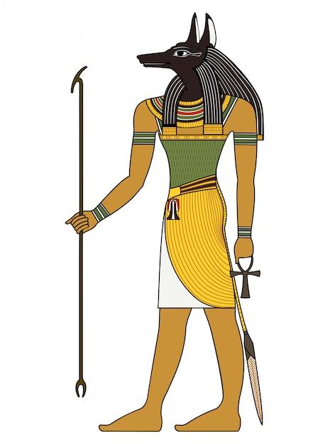 Сет, египетский древний символ, изолированная фигура древних египетских божеств Premium векторы