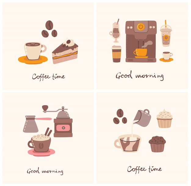 Sets of cards with cup of coffee and the coffee cake in line art style on background. Premium Vector