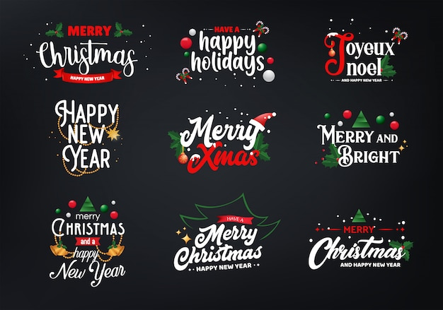 Sets of christmas typography Premium Vector