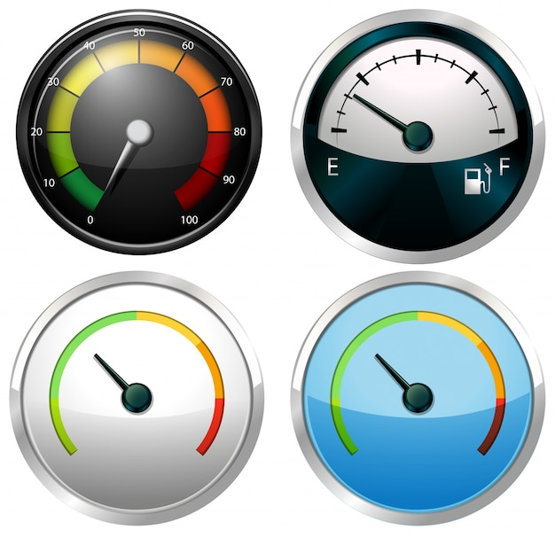 Sets of meter gauges on a white background Free Vector