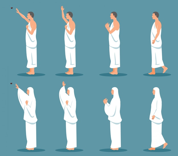 Sets of modern character of hajj pilgrimage from side view. Premium Vector