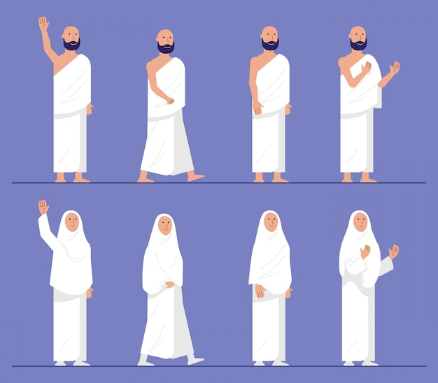 Sets of modern flat character of hajj pilgrimage. Premium Vector