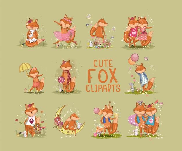 Наборы милых клипартов лисы. векторные иллюстрации Premium векторы