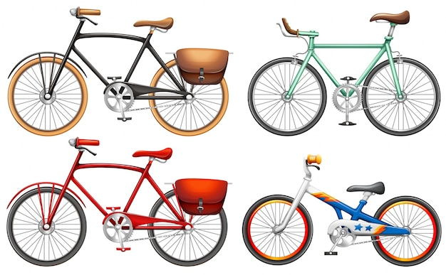 Sets of pedal bikes on a white background