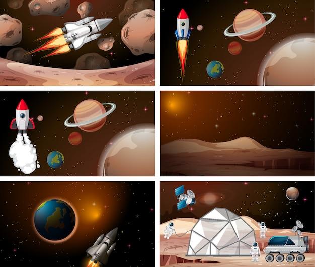 ロケットと宇宙シーンのセット 無料ベクター