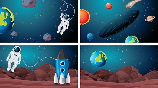 Sets of space scenes Free Vector
