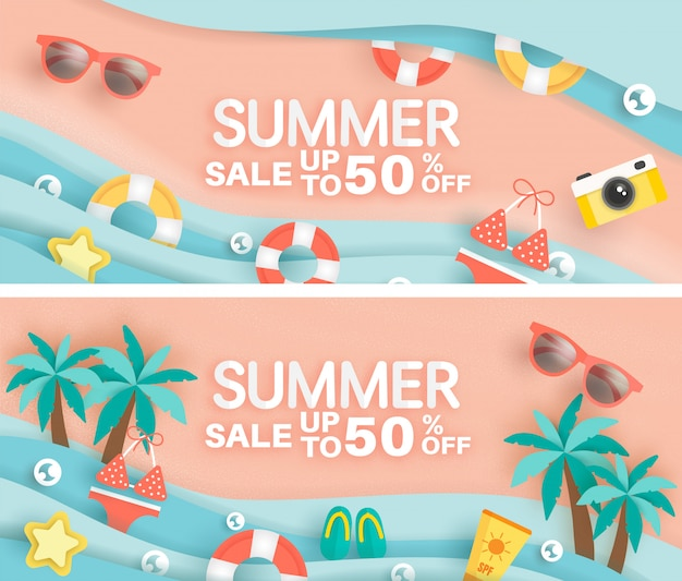 Sett of summer sale banner with summer element in paper cut style . Premium Vector