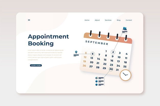 Setting reminders on calendar landing page Free Vector
