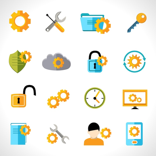 Settings icons flat Free Vector