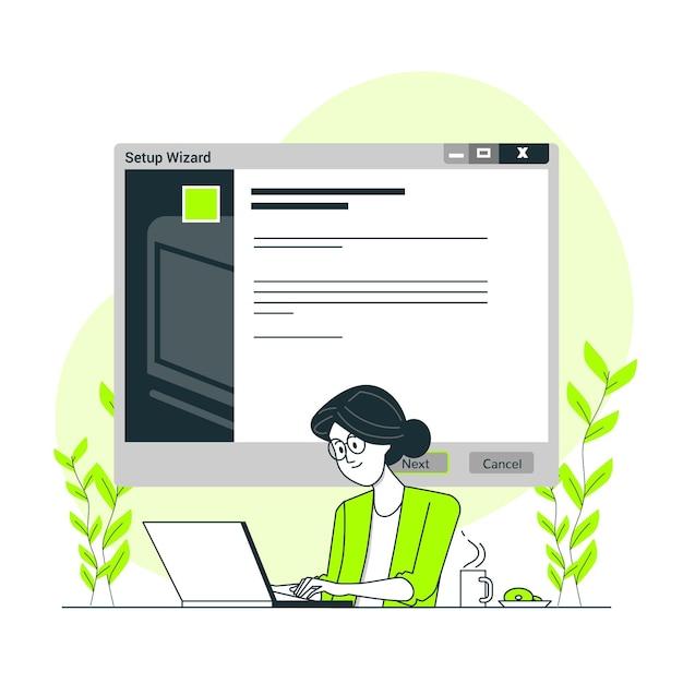 Illustrazione del concetto di installazione guidata Vettore gratuito