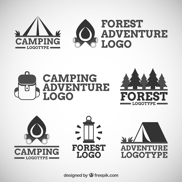 Seven logos of adventure and camping in the\ forest